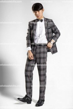 Mens Gray Prince Palace Grid Suits Mens Costume