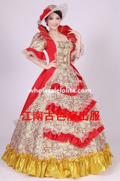 Historical Marie Antoinette Theme Party Dress Ball Gown Theatre Clothing N8