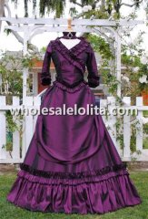Mina Dracula Gothic Purple Victorian Bustle Gown Wedding Halloween Costume Custom Made