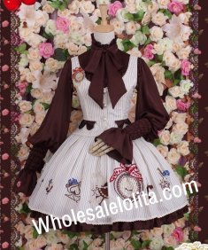 Vintage Vertical Stripe Collage Style Alice Waistcoat & Skirt Lolita Suit