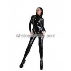 COOL Black Back Zipper White Line Latex Bodysuit for Women