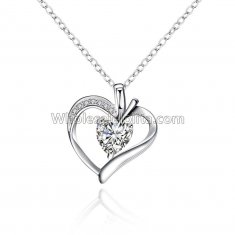 Fashionable Platinum Necklace with Dual Layer Heart Pendant for Versatile Occasions