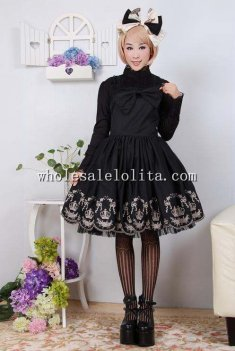 Shoulder-straps Crown Embroidery Black Sweet Lolita Dress