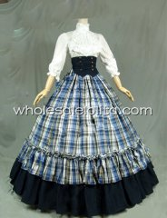 Victorian Gothic Dress Grid Ball Gown