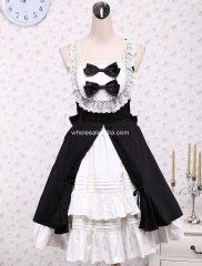 Black and White Straps Sleeveless Classic Lolita Dress