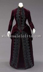 1800s Victorian Dress - 1885s Late American Silk Beadwork Bustle Gown Skirt Bodice