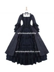 Gothic Black Brocade and Cotton Marie Antoinette Period Dress Halloween Party Costume