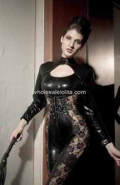 New Black PVC & Lace Sexy Catsuit