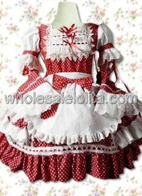 Red Lace Ruffles Cotton Sweet Lolita Dress