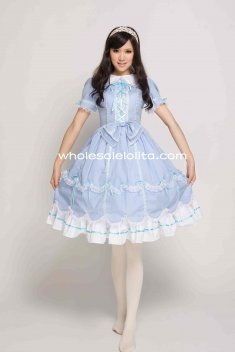 Blue Cotton Sweet Lolita Dress Gothic Victorian Princess Style Ball Gown