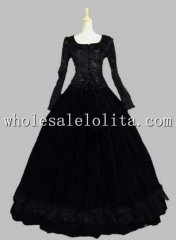 Civil War Velvet Jacquard Pattern Period Dress Gown Reenactment Clothing Theatre Wear
