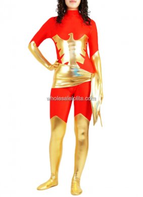 Hot Sale Female Shiny Metalic Catsuit for Halloween