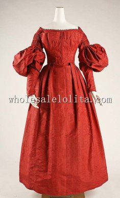 New 18th Century Red Silk Victorian Day Dress Euro Period Dress