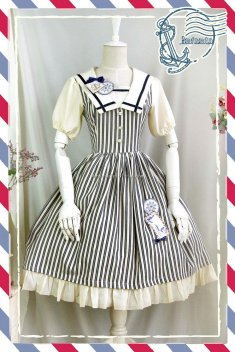 Infanta Navy Style Striped OP Sailor Lolita Dress