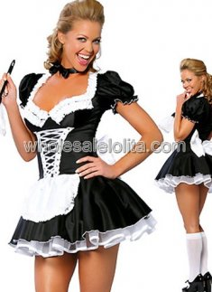 Hot Sale Black and White Maid Sexy Costume
