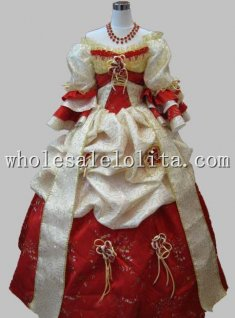 17 18th Century Baroque Noble Red and Beige Marie Antoinette Period Dress Stage Costume