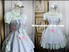 Mint Green Floral Ruffles Classic Lolita Dress