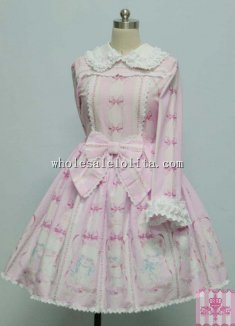 Lovely Cats & Bows Printing Sweet OP Lolita Party Dress