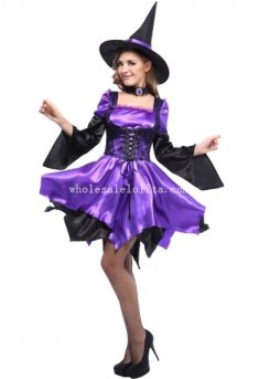 Gothic Black Purple Adult Witch Halloween Costume Masquerade Dress