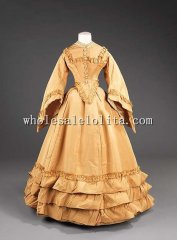 1870s Early Victorian Bustle Pagoda Sleeves Train Gowns Wedding Dress