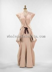 Custom Made 1945 Mid 20th Century American Silk Evening Dress