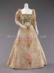 Late 19th Century 1890s Belle Epoche French Rococo Style Evening Dress
