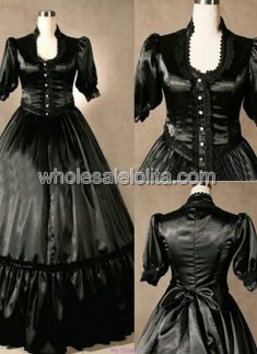 Custom Made Black Satin Gothic Victorian Dress Reenactment Clothing