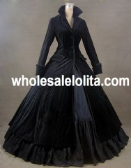 Black Velvet Vintage Winter Outfit Victorian Dress