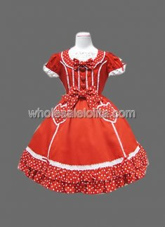 Red Short Sleeves Bow Cotton Lolita Dress