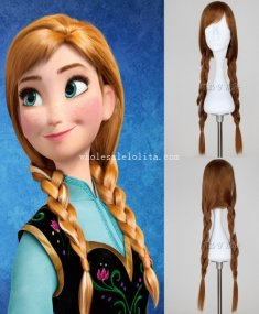FROZEN Princess Anna Cosplay Wig Halloween Costume Party Wig