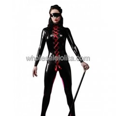 Black and Red Lace Up Latex Catsuit with Mask for Women