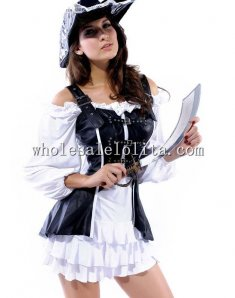 Lovely Pirate Leather Corset and White Skirt