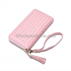Manka Vesa big capacity ladies long purses high quality patent pu leather women wallets luxury double zipper day clutch Pink