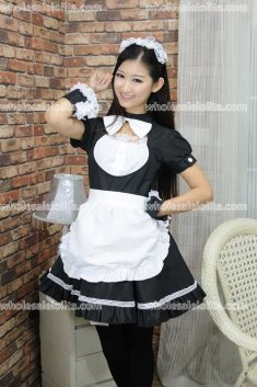 Black and White Dining Hall Maid Put Lolita Cosplay Costume