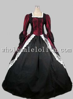 18th Century Gothic Wine Red & Black Marie Antoinette Period Dress Performance Clothing Halloween Costume