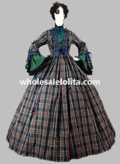 Civil War Tartan and Cotton Vintage Plaid Victorian Period Dress Reenactment Clothing