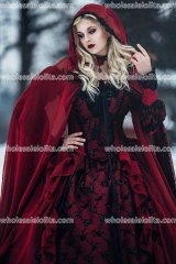 Gothic Wedding Sleeping Beauty Red and Black Sparkle Fantasy Set with Cape Custom
