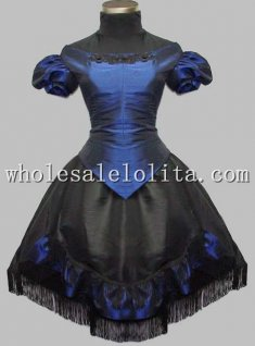 Vintage Black and Blue Victorian Inspired Gothic Dress Two Pieces