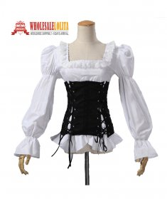 Renaissance Medival Pirate Wench Vixen Steampunk Blouse Women Halloween Costume