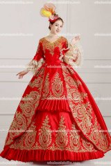Classic 18th Century Marie Antoinette Inspired Dress Wedding Masquerade Gown Reenactment RED
