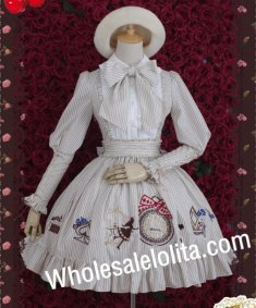 Vintage Vertical Stripe Alice Removable Big Bow OP Lolita