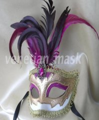 Pure Hand-painted Three-dimensional Grain Purple Feather Masquerade Mask