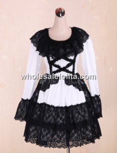 Long Sleeves Lace And Tie Cotton Punk Lolita Dress