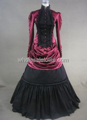 Graceful Fuchsia and Black Victorian Bustle Dress Two-piece Historical Stage Costume