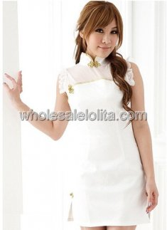 Pure White Sexy Chinese Qipao Dress