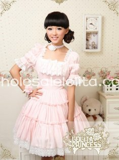 Princess Pink Square Collar Short Sleeve Chiffon Sweet Lolita Dress