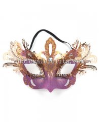 Metal Laser Cut Halloween Masquerade Mask with Center Diamond and Diamond Eyelashes