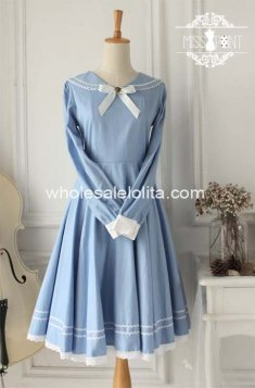 Vintage Light Blue School Long Sleeves Sailor Lolita Dress