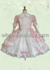 High Quality Pink Bow Cotton Sweet Lolita Dress