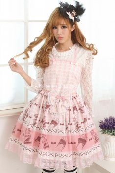 Sweet Pink Bird Cage Print Lolita Dress JSk